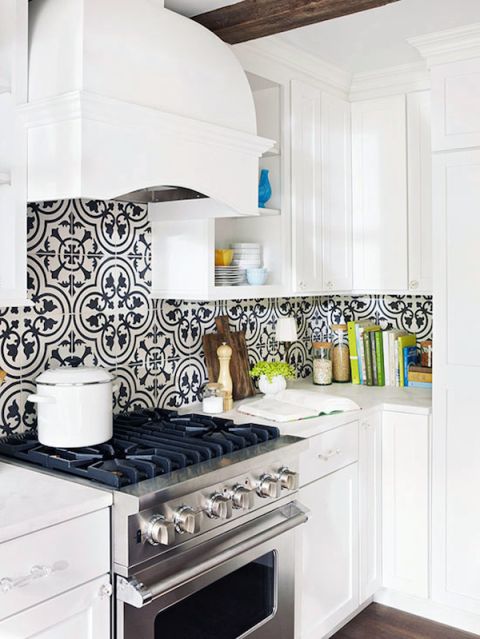 Black And White Cement Plates Backsplash