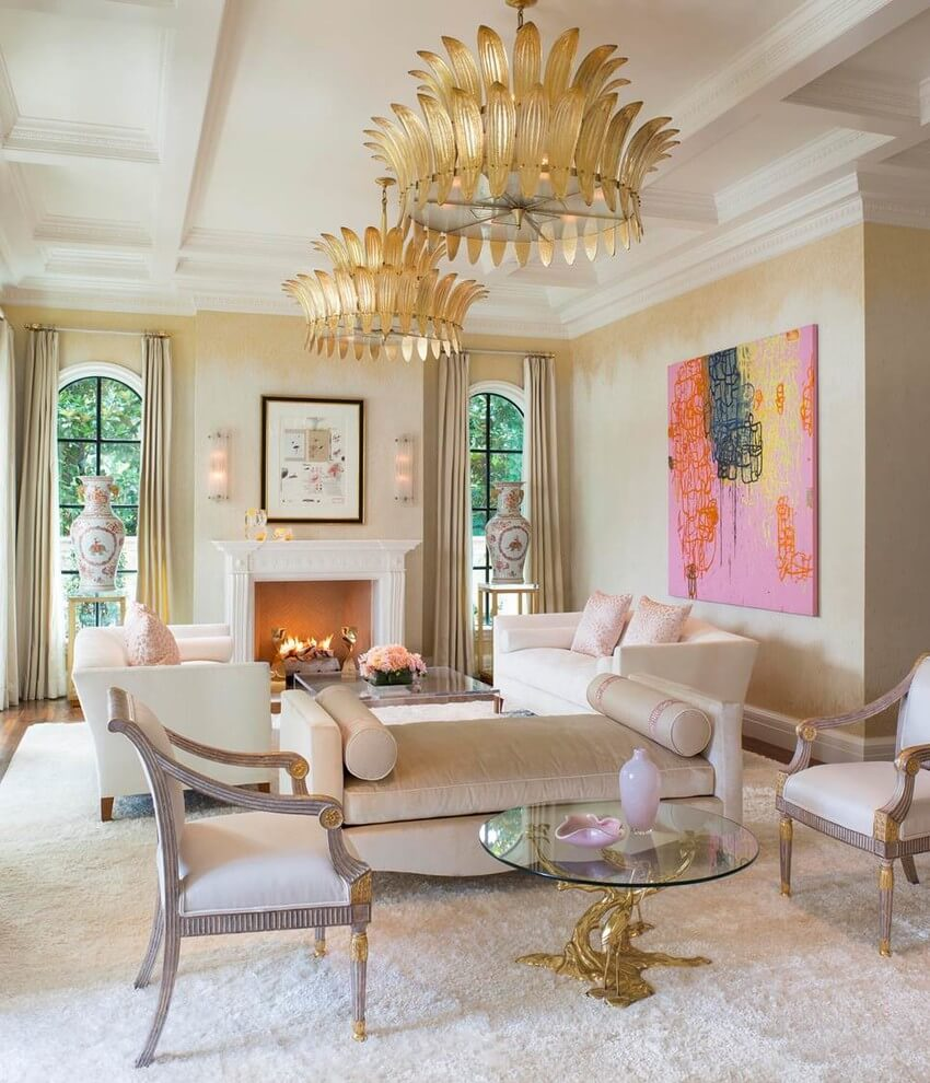 Classic white mediterranean living room design