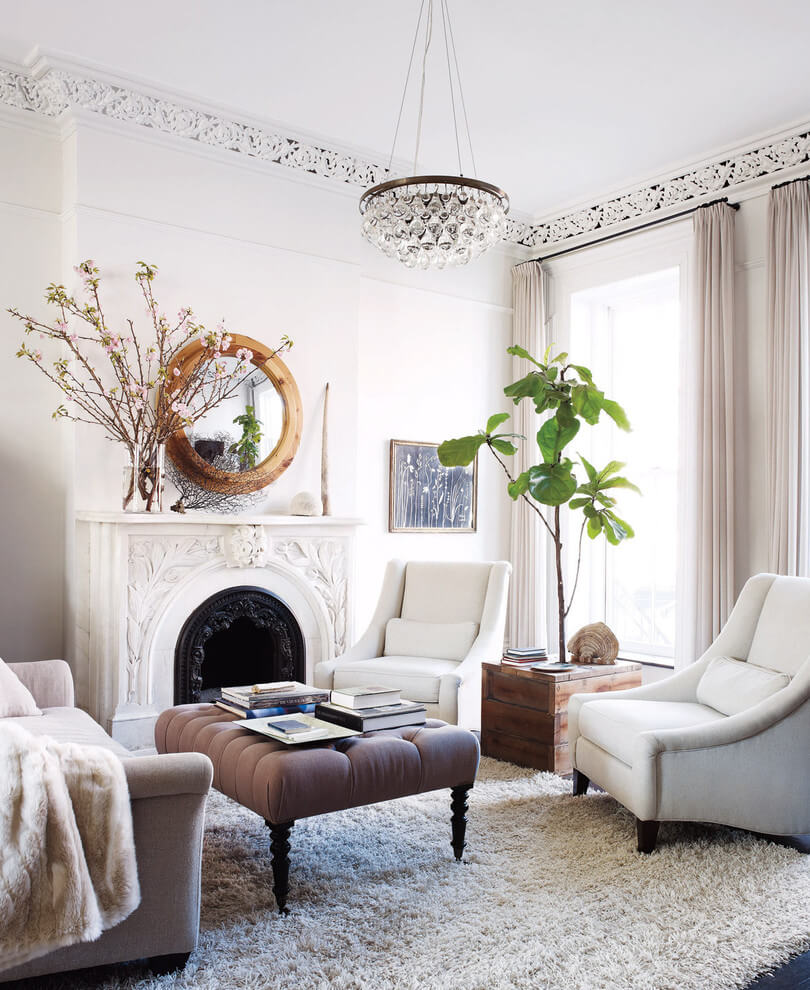 White themed Victorian living room