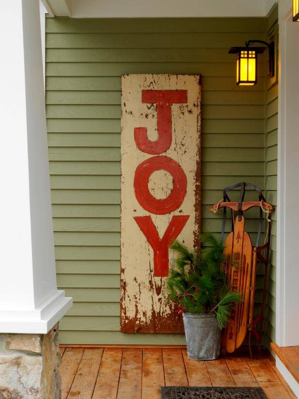 DIY hand-painted Christmas sign