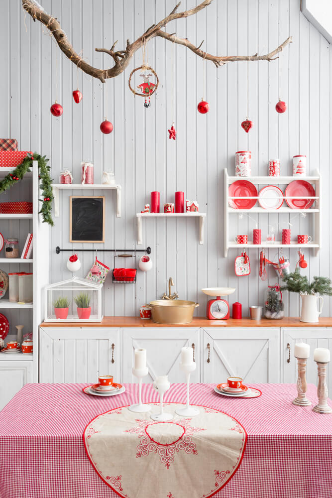 Red Details Christmas Kitchen Decor
