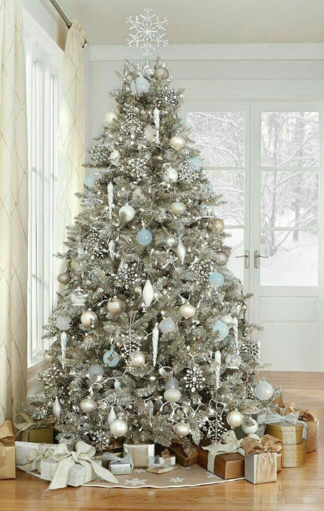Sparkling silvery white Christmas tree
