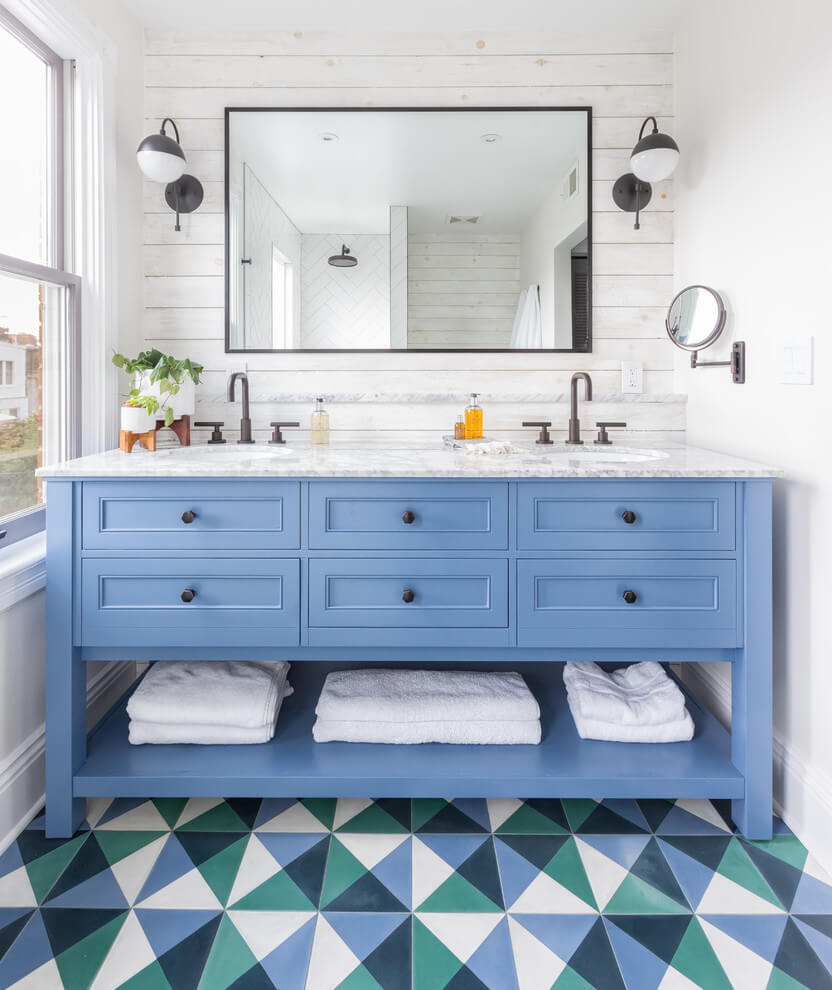 Colorful patterned floors in bathrooms