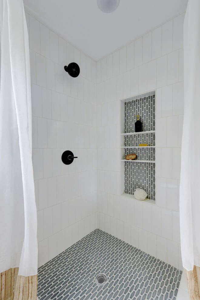 White bathroom with gray accents