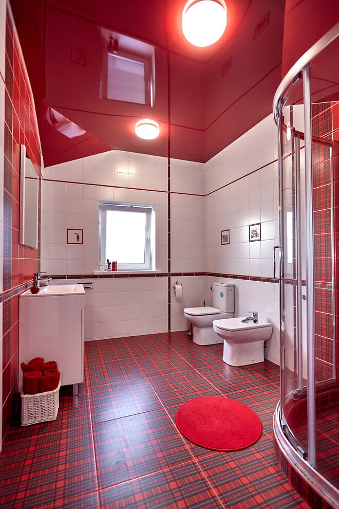 Red theme room with white accents