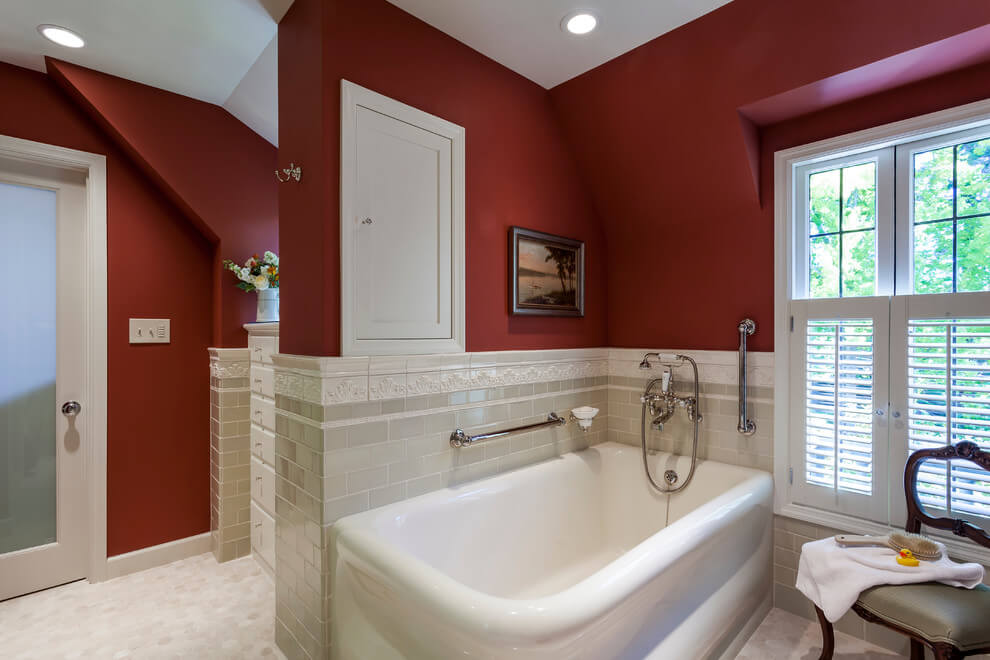 Dark walls in traditional bathroom