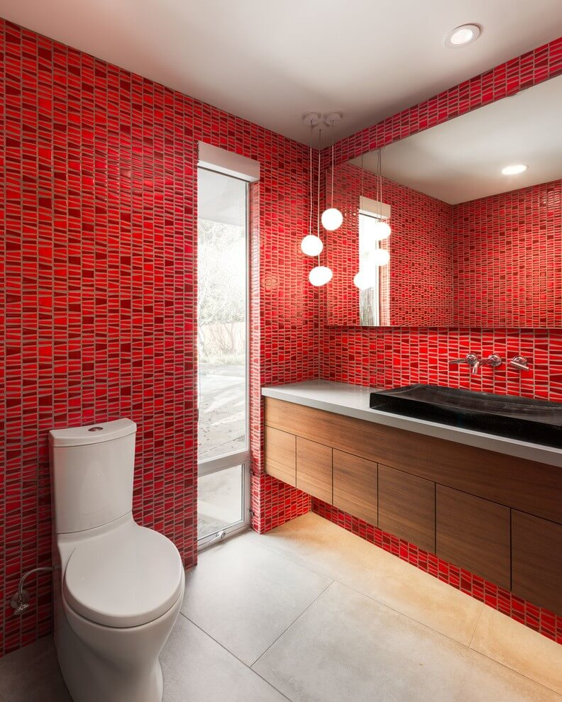 Midcentury Modern Red Bathroom