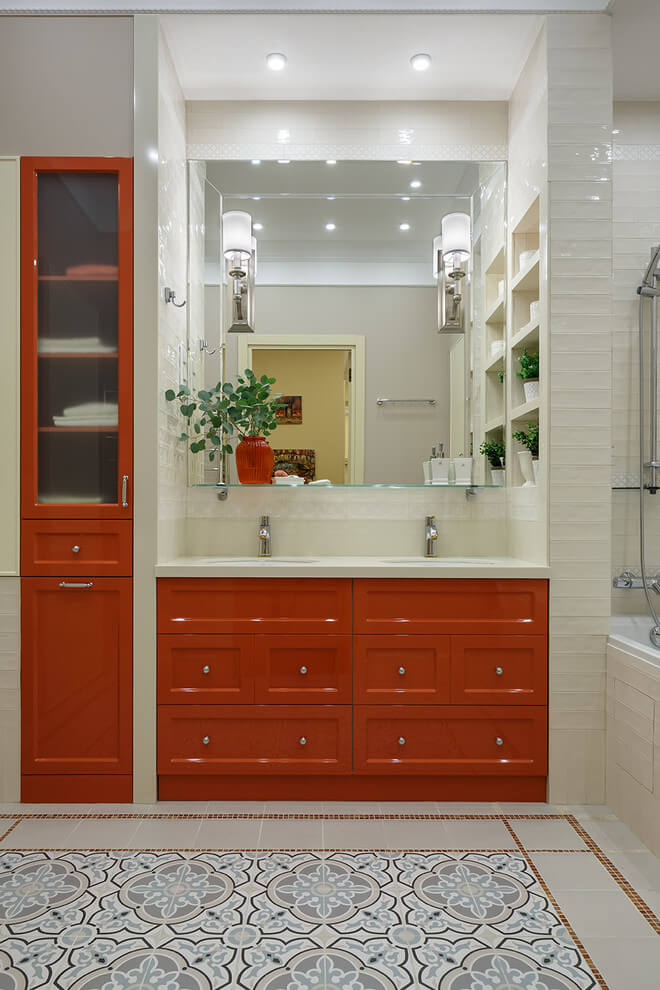 Bright red bathroom vanity