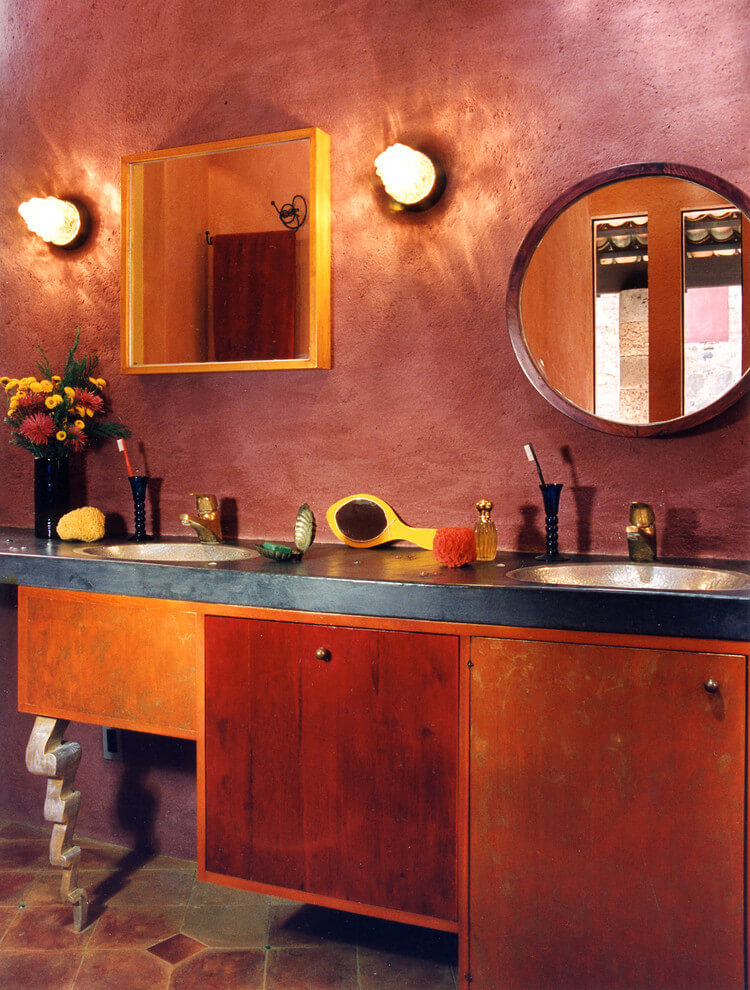 Eclectic bathroom in dark colors