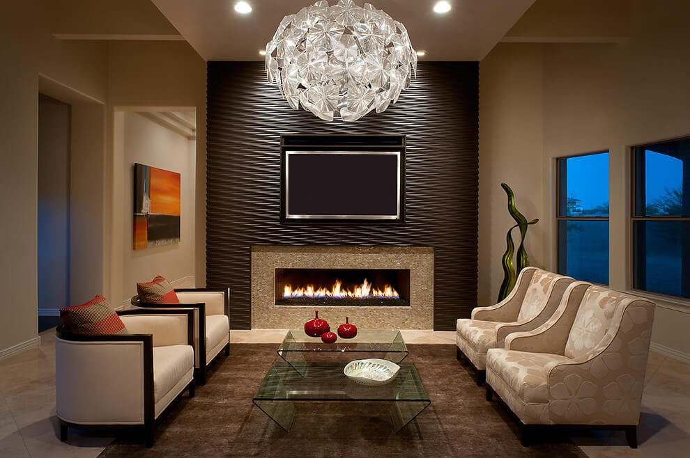 Elegant modern interior with brown accents