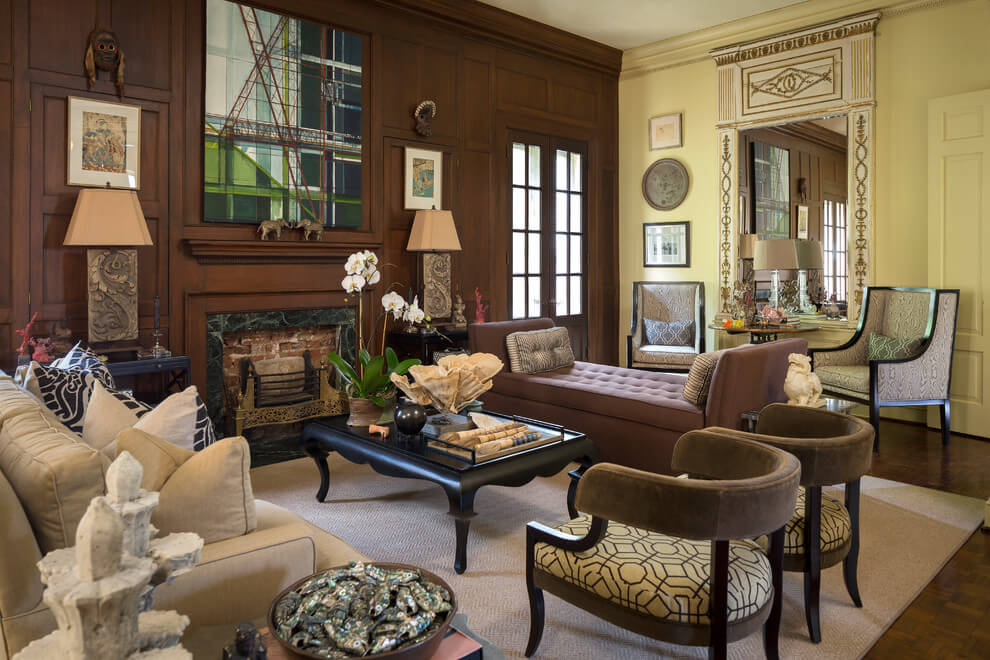 Yellow and brown living room design