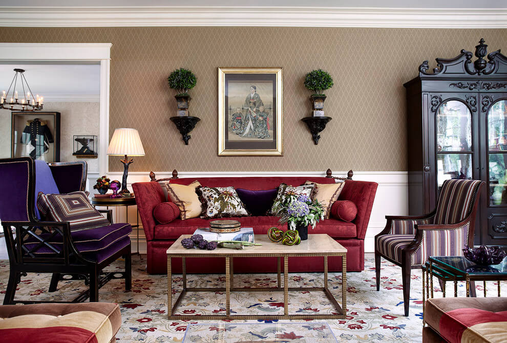 Traditional living room brown accents