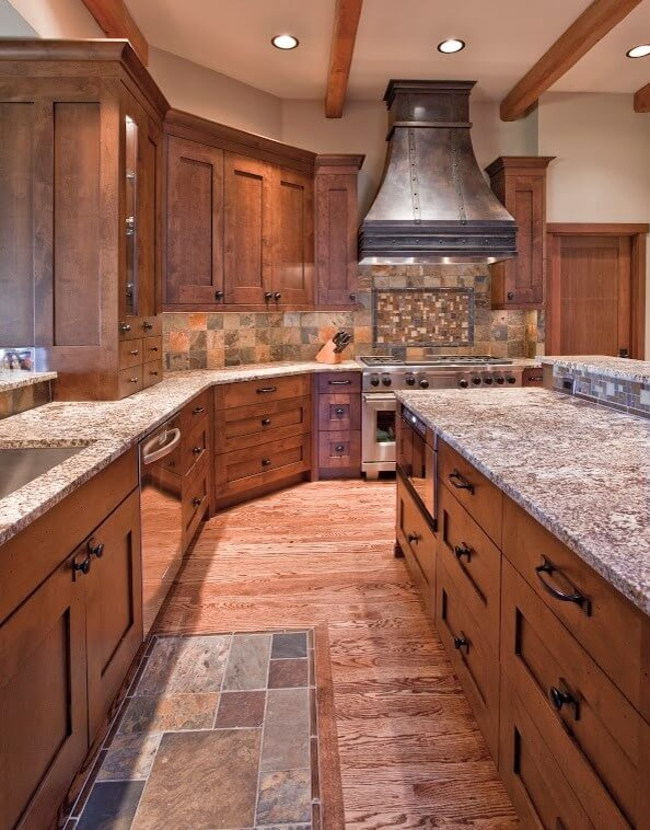 Large kitchen in wooden tones