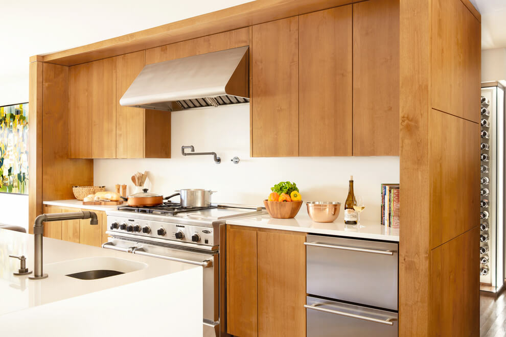 Wooden cabinets and wooden tones