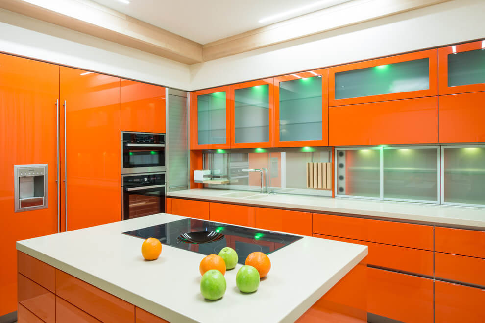 Happy orange kitchen design