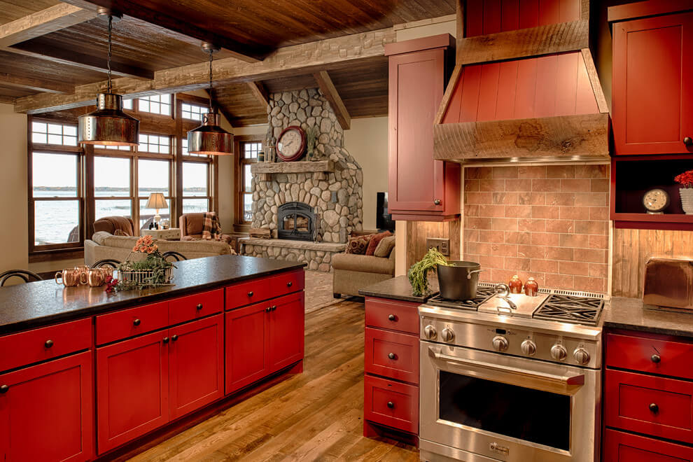 Vibrant red and black kitchen