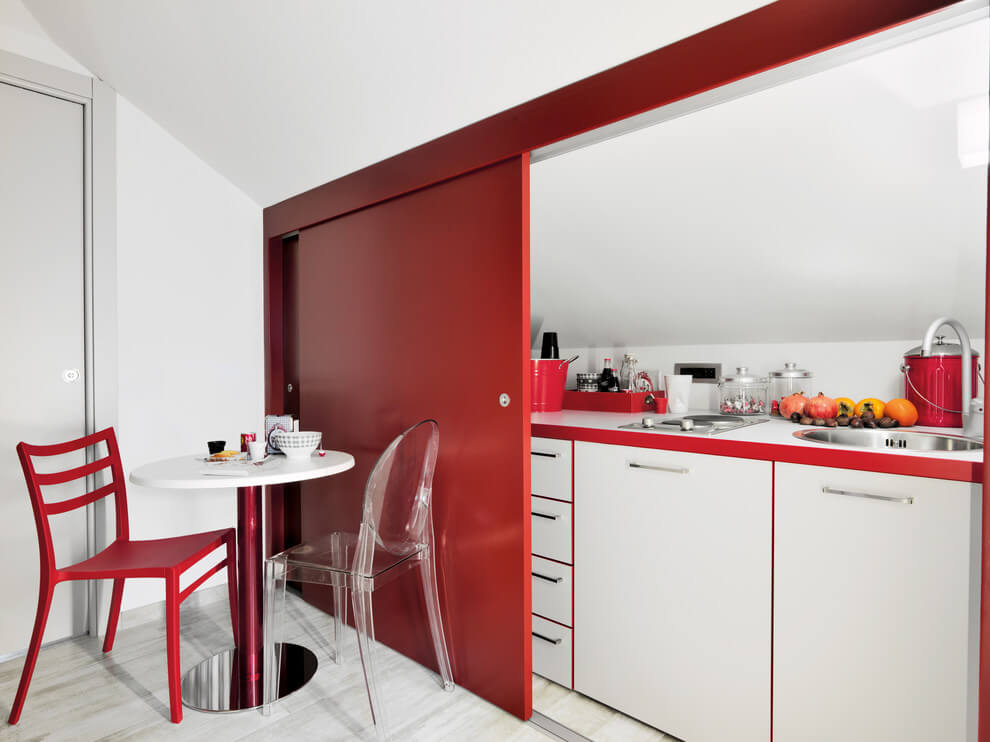 Small space contemporary red kitchen