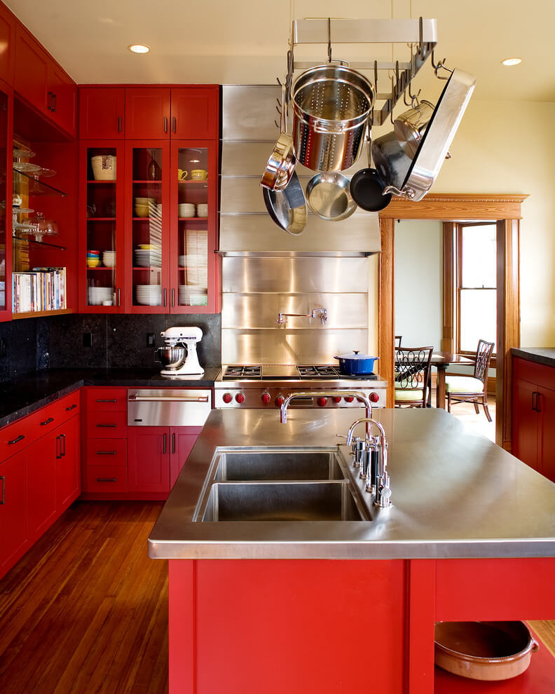 Bright colors in industrial kitchen