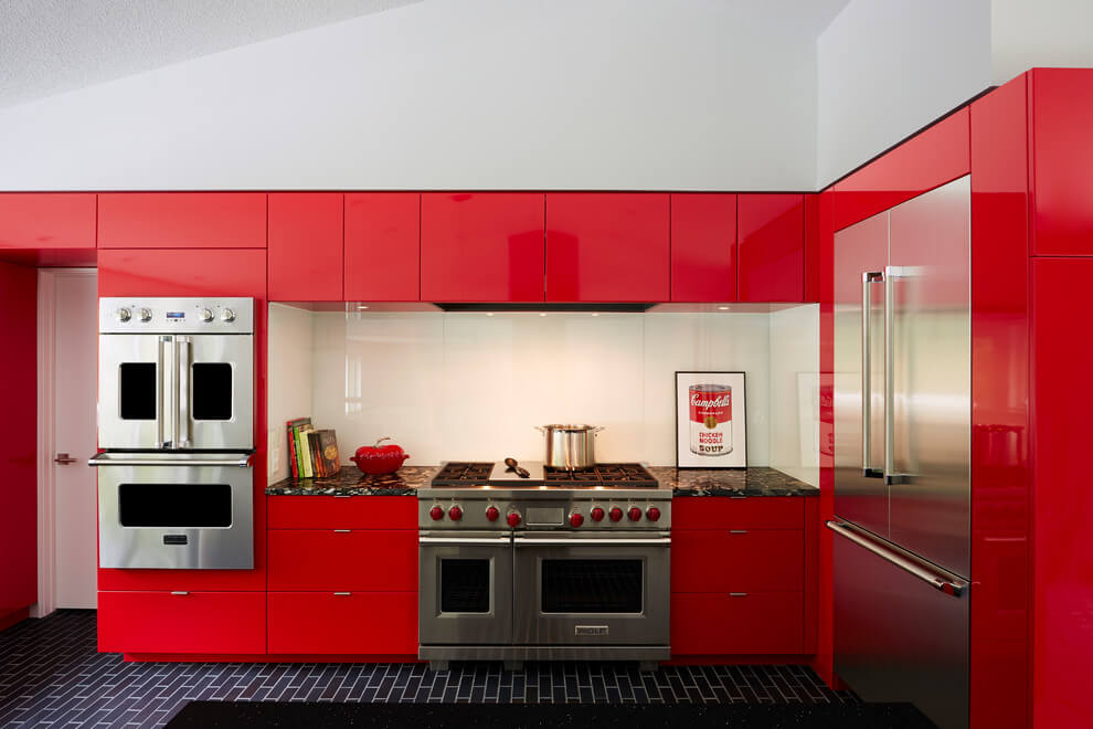 Kitchen Kitchen In Red And White