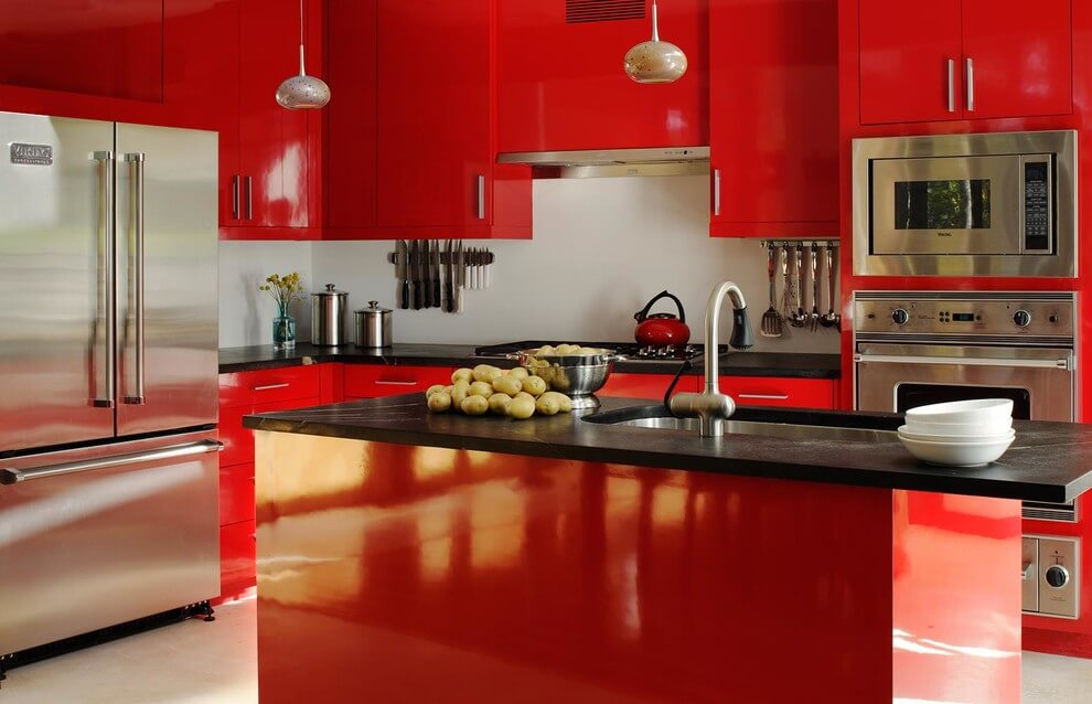 Modern kitchen with high gloss cabinets