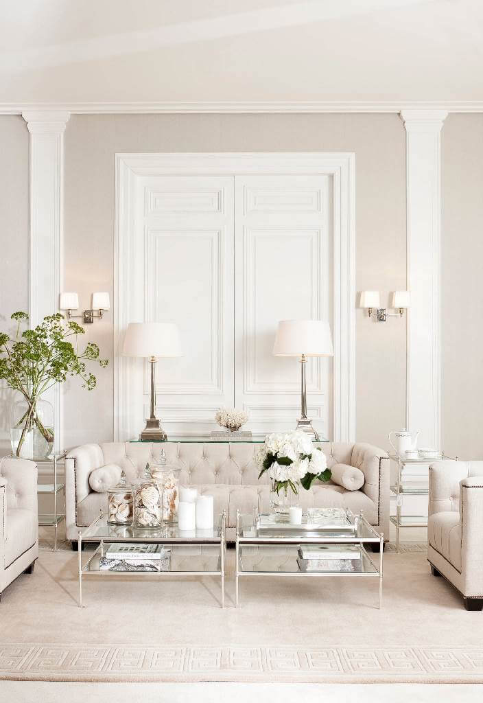 Simple living room in pale colors
