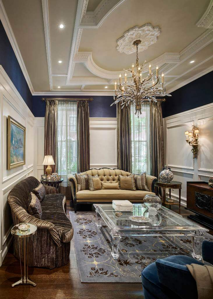 Gold accents in luxurious living room