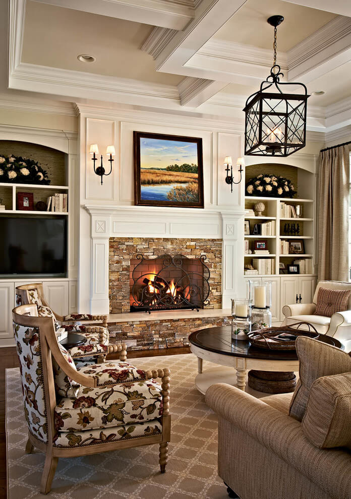 Charming living room with fireplace