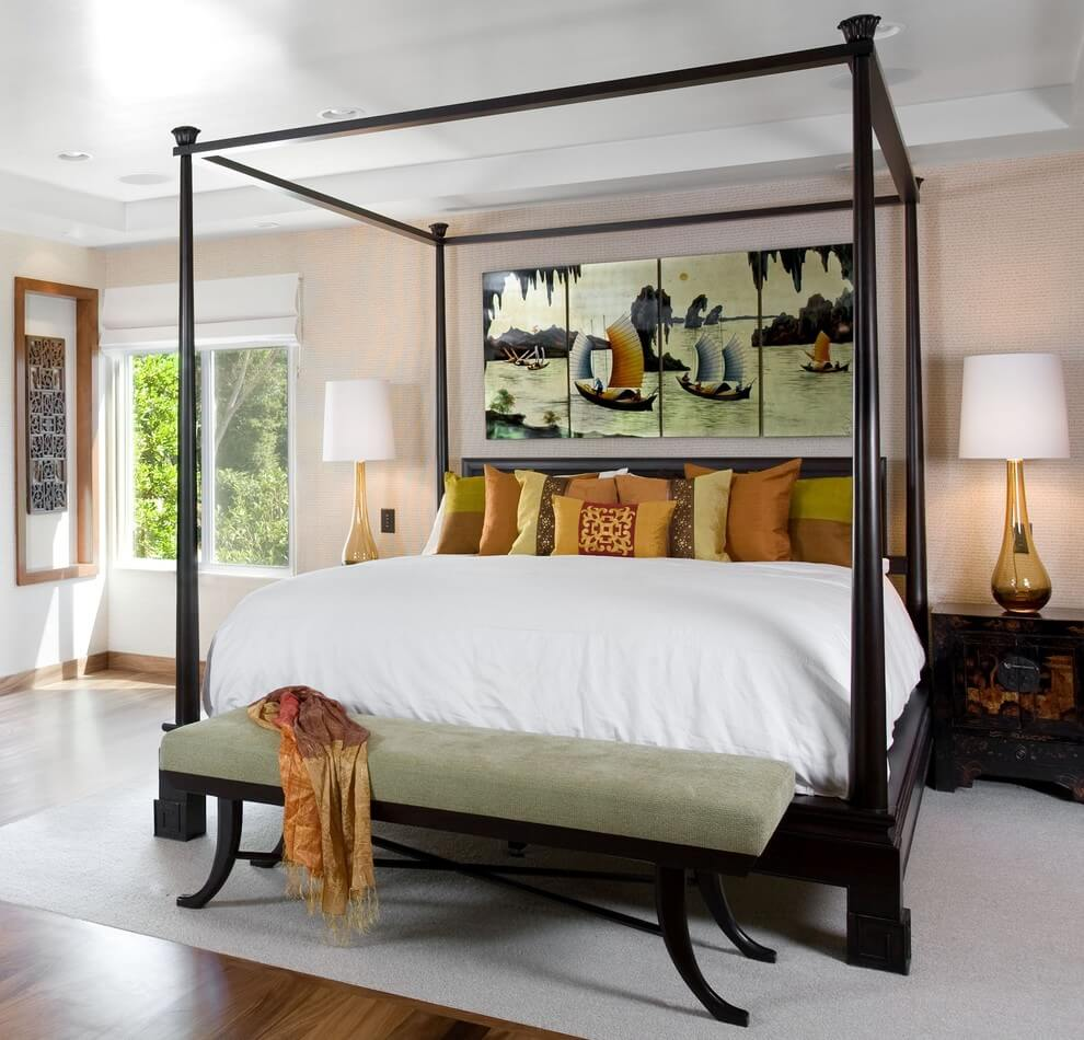 Serene Feel In Asian Bedroom Decor