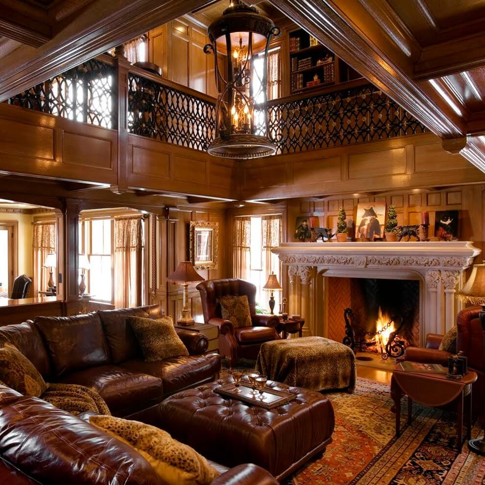 Period charm in brown living room