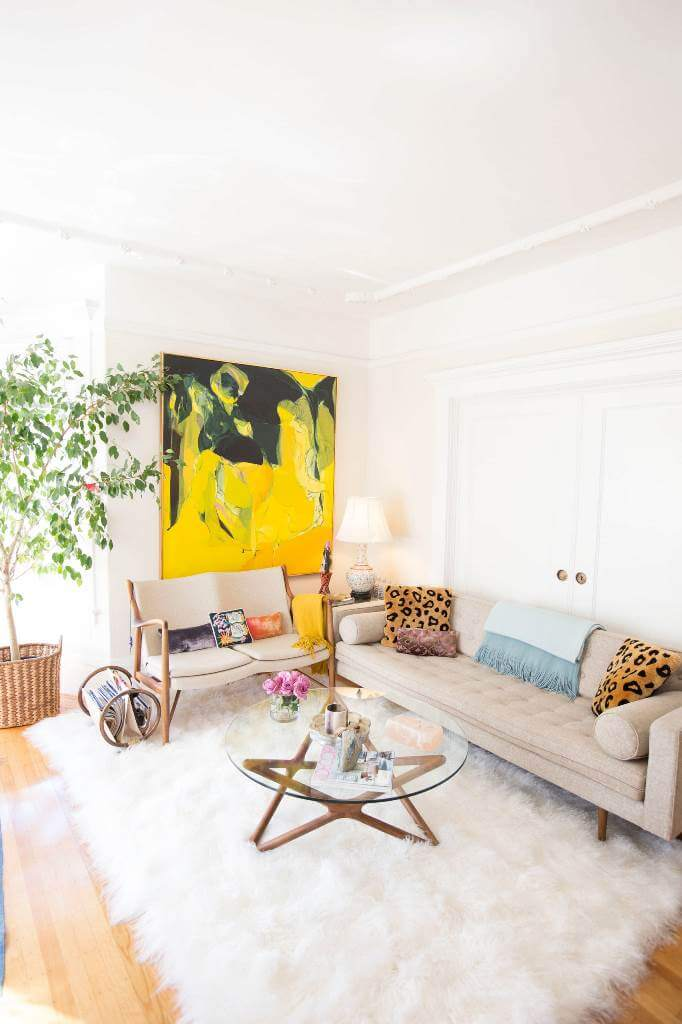 Bright colors in white living room