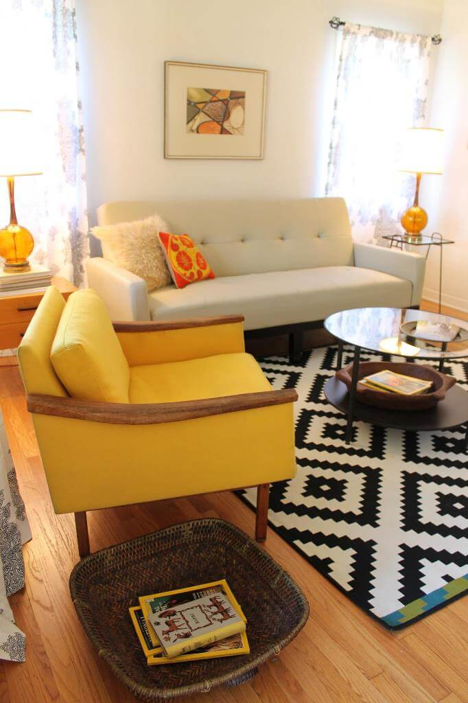 Yellow accents in white room decor
