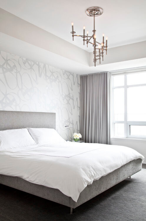 Simple gray and white bedroom
