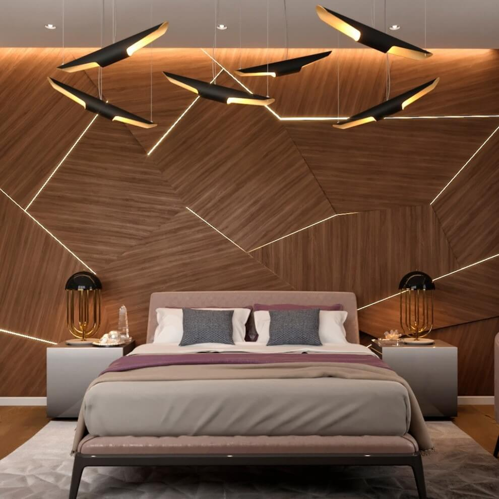 Geometric lines in the minimalist bedroom