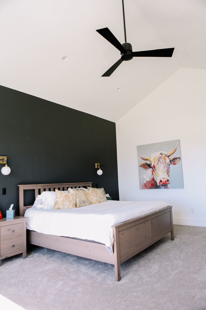 Dark accent wall Neutral Bedroom