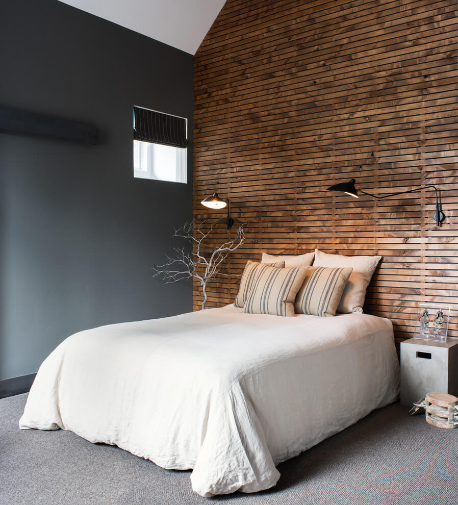 Wooden headboard wall industrial bedroom