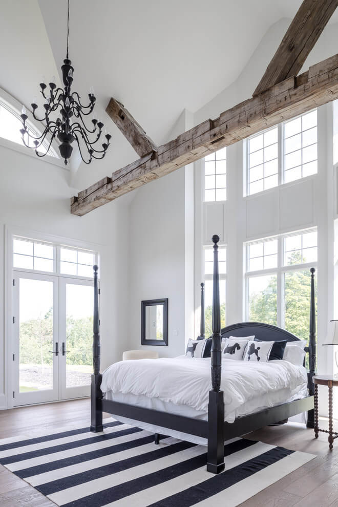 Fresh black details with white bedrooms