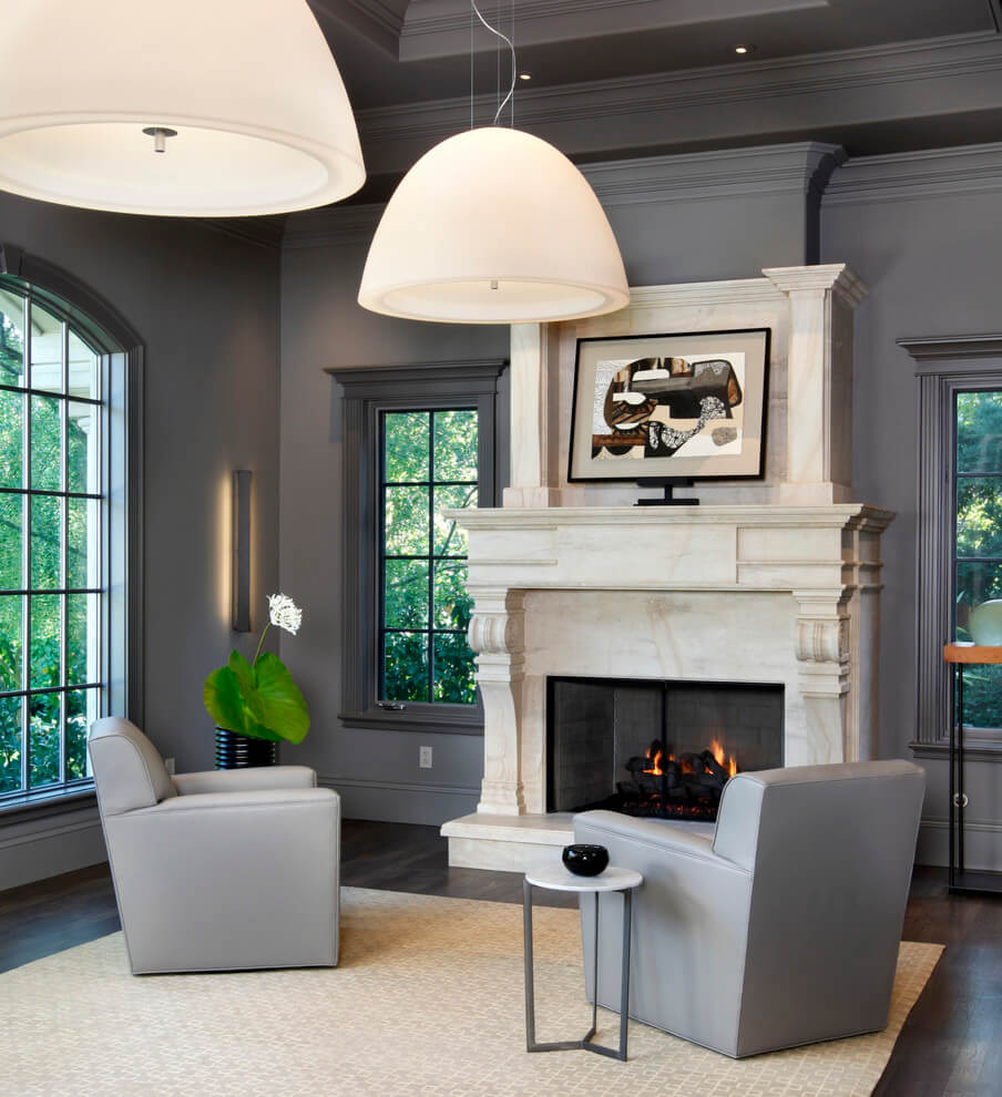 Gray living room white accents