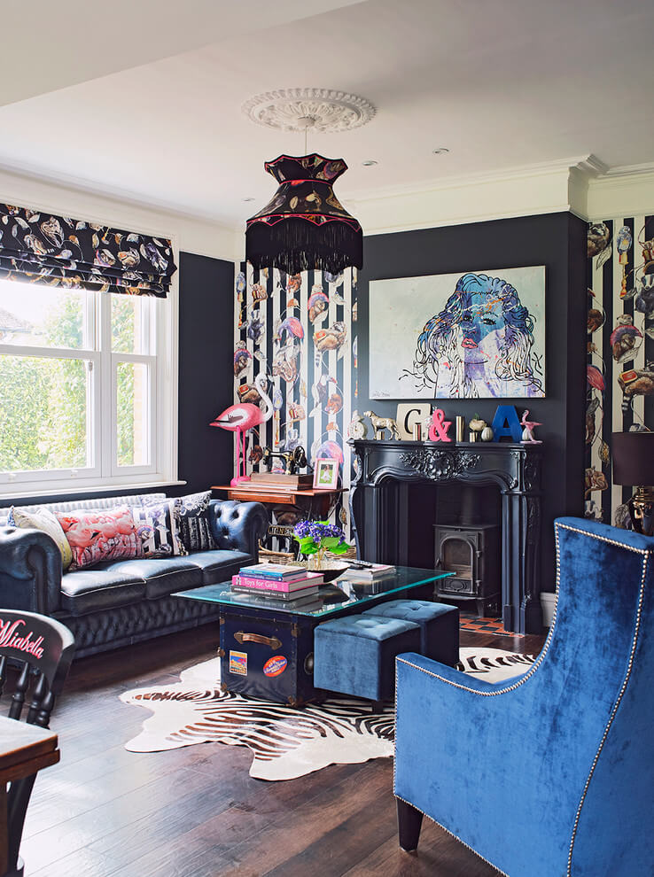 Quirky Wallpaper Eclectic living room