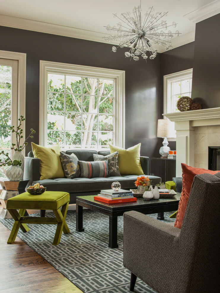 Dark gray walls Light accents