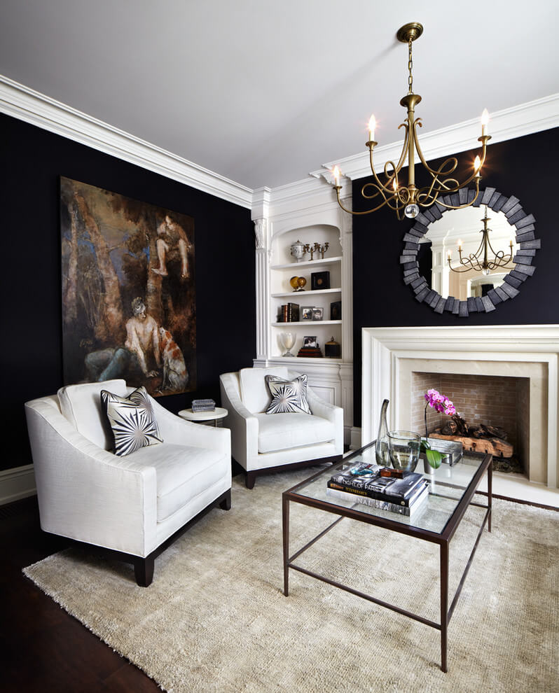 Traditional living room bold colors