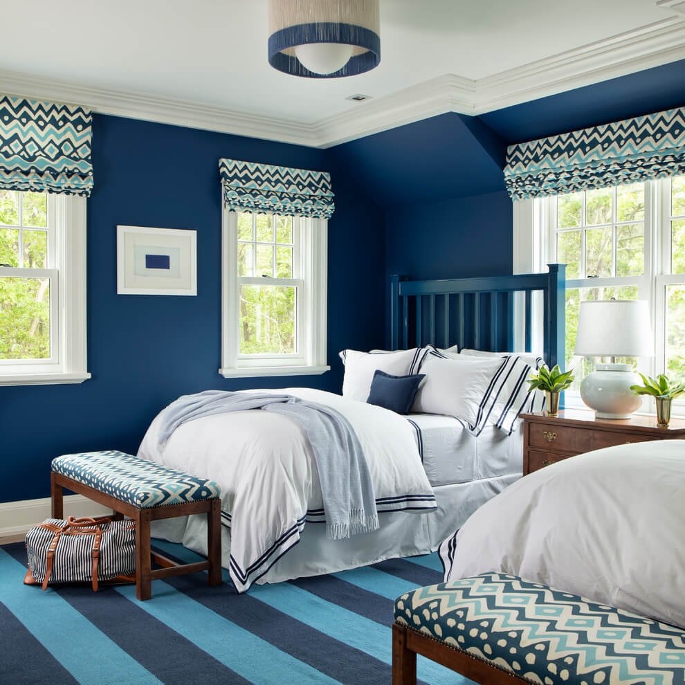 Modern Twin room in blue shades