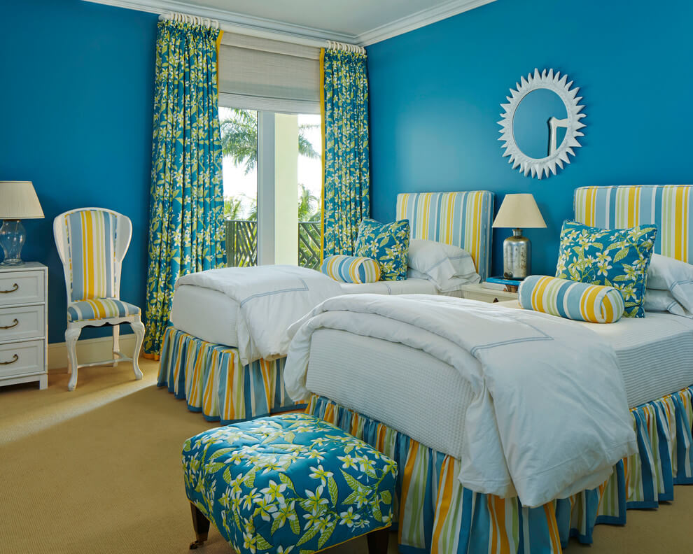 Tropical colors Blue bedroom decor