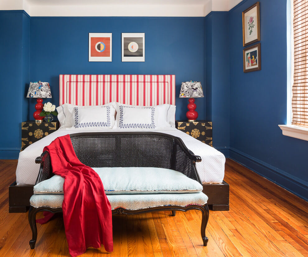 Blue and red bedroom decor