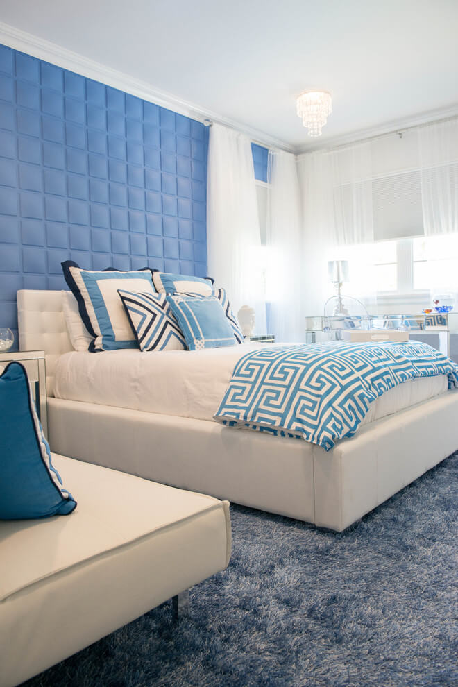 White And Blue Bedroom Design