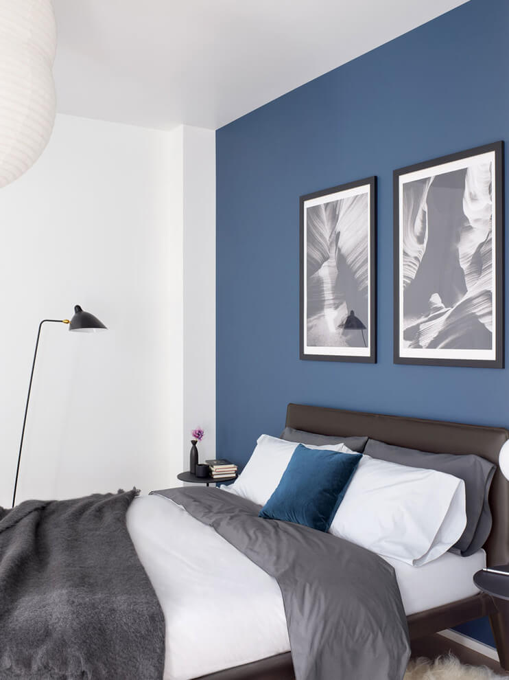 Gray and blue bedroom decor