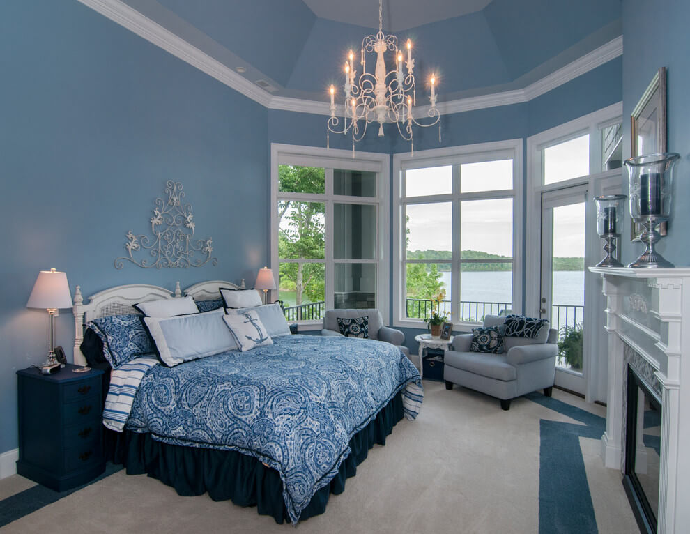 Soft luxury traditional blue bedroom