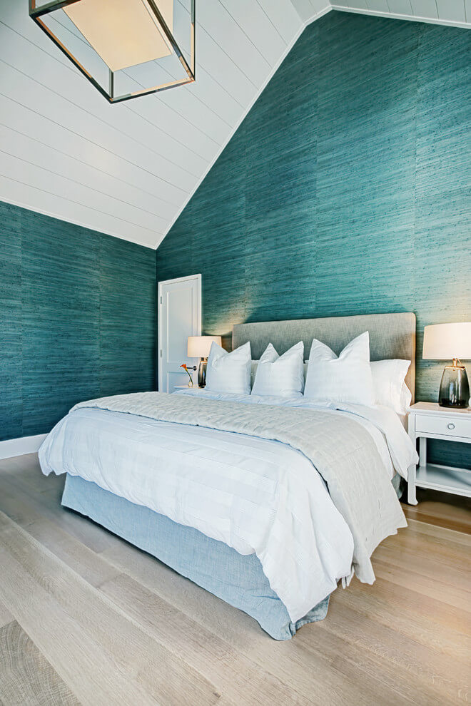 Turquoise and white bedroom decor