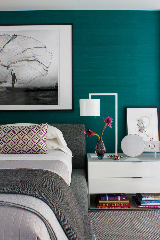 Bold turquoise accent wall decor