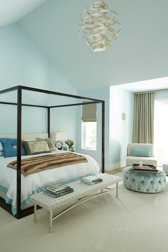 Modern bedroom in pastel colors