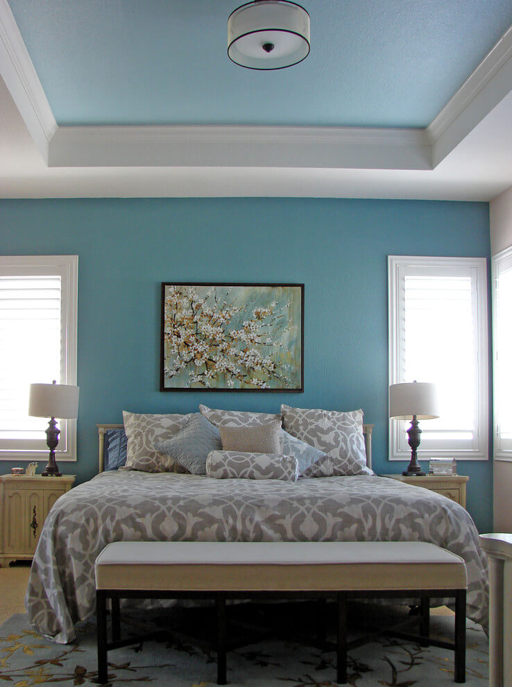 Modern turquoise and gray bedroom